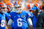 QB Jeff Driskel prepares to the take the field.  Gators vs Tennessee Volunteers.  September 21, 2013.