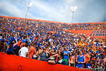 The florifa gator student section looks liek they are hanging fun.  Gators vs Tennessee Volunteers.  September 21, 2013.