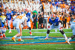 LB Ronald Powell lines up across the Tennessee TE Brenden Downs.  Gators vs Tennessee Volunteers.  September 21, 2013.