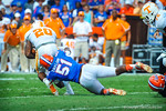 LB Michael Taylor makes the diving tackle on Tennessee RB Raijon Neal.  Gators vs Tennessee Volunteers.  September 21, 2013.