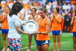 Gator gymnist Bridget Sloan is honored with the Honda Award for outstanding acheivement in womens collegiate athletics.  Gators vs Tennessee Volunteers.  September 21, 2013.