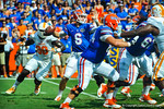 Gator QB Jeff Driskel throws downfield during the 1st quarter of the Tennessee game.  Gators vs Tennessee Volunteers.  September 21, 2013.
