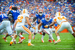 RB Matt Jones takes the handoff.  He tries for the inside hole but with nothing there cuts to the outside.  Gators vs Tennessee Volunteers.  September 21, 2013.