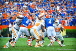 DL Dante Fowler and Damien Jacobs rush the Tennessee quarterback.  Gators vs Tennessee Volunteers.  September 21, 2013.