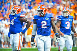 The gator defense prepares to line up for the next snap of the ball.  Gators vs Tennessee Volunteers.  September 21, 2013.