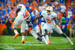 DB Jaylen Watkins makes the tackle.   Gators vs Tennessee Volunteers.  September 21, 2013.