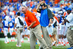 Coach Jeff Dillman shouting at the gator defense.  Gators vs Tennessee Volunteers.  September 21, 2013.