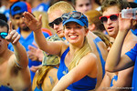 A gator fan does her gator chomp.  Gators vs Tennessee Volunteers.  September 21, 2013.