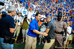 Coach Will Muschamp comes down to thank the band following the big win against Tennessee.  Gators vs Tennessee Volunteers.  September 21, 2013.