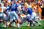 Tennessee fumbles the ball and the gator defense jumps on the ball to recover the fumble.  Gators vs Tennessee Volunteers.  September 21, 2013.