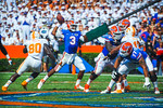 Gator QB Tyler Murphy throws downfield.   Gators vs Tennessee Volunteers.  September 21, 2013.