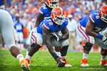 OL Jonotthan Harrison prepares to snap the ball.  Gators vs Tennessee Volunteers.  September 21, 2013.