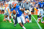 LB Michael Taylor celebrating after recovering the Tennessee fumble.  Gators vs Tennessee Volunteers.  September 21, 2013.