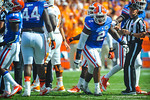 DL Dominique Easley celecrates after the fumble is recovered.  Gators vs Tennessee Volunteers.  September 21, 2013.