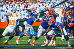Gator QB Tyler Murphy throws downdield before nearly being sacked.   Gators vs Tennessee Volunteers.  September 21, 2013.