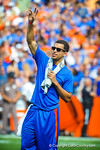 Gator basketball player Scottie Wilbekin waves to the crowd as the florida basketball team is honored during the Tennessee game. Gators vs Tennessee Volunteers.  September 21, 2013.