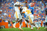 RB Mark Herndon rushes downfield to make the hit on the kickoff.   Gators vs Tennessee Volunteers.  September 21, 2013.