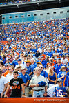The gator fans rise for the singing of the national anthem.  Gators vs Tennessee Volunteers.  September 21, 2013.