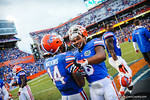 Trey Burton and Jaylin Watkins celebrate after the win against Tennessee.  Gators vs Tennessee Volunteers.  September 21, 2013.