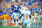 Gator DB Brian Poole leaps into the air and intercepts the ball.  Gators vs Tennessee Volunteers.  September 21, 2013.