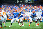 QB Tyler Murphy looks downfield for an open receiver.  Gators vs Tennessee Volunteers.  September 21, 2013.
