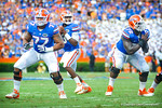 QB Tyler Murphy scans the field for an open receiver.  Gators vs Tennessee Volunteers.  September 21, 2013.