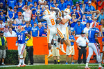 Tennessee players celebrate after scoring and cutting the Gator lead to 14 points.  Gators vs Tennessee Volunteers.  September 21, 2013.