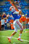 A gator football player makes the catch during warms ups for the Tennessee game.  Gators vs Tennessee Volunteers.  September 21, 2013.
