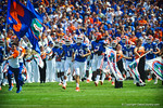 The Florida Gators take the field for the Tennessee game.  Gators vs Tennessee Volunteers.  September 21, 2013.