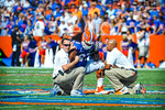 OL Jon Halapio us injured on the play and taken off the field.  Halapio would later return to the game.   Gators vs Tennessee Volunteers.  September 21, 2013.