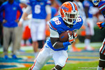WR Alvin Bailey makes the catch and runs up field during warm ups for the Tennessee game.  Gators vs Tennessee Volunteers.  September 21, 2013.