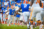 DB Vernon Hargreaves lines up for the tackle.  Gators vs Tennessee Volunteers.  September 21, 2013.