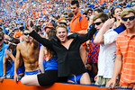 Florida fans gator chomp and are in high spirits as their gators cling to a 14 point lead.  Gators vs Tennessee Volunteers.  September 21, 2013.