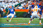 Gator kicker Austin Hardin kicks off the ball following the gator field goal.  Gators vs Tennessee Volunteers.  September 21, 2013.