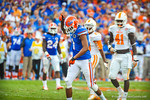 WR Quinton Dunbar celebrates after his catch resulting in a gator first down.  Gators vs Tennessee Volunteers.  September 21, 2013.