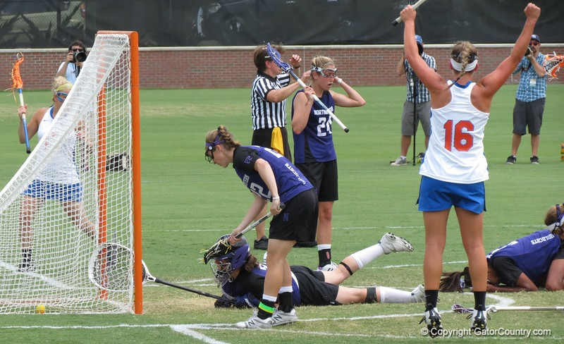 Players celebrate a late goal during the Florida Gators' 14-7 win against the Northwestern Wildcats in the ALC Championship on Saturday, May 5, 2012, at Donald R. Dizney Stadium in Gainesville, Fla. / Gator Country photo by MIke Capshaw