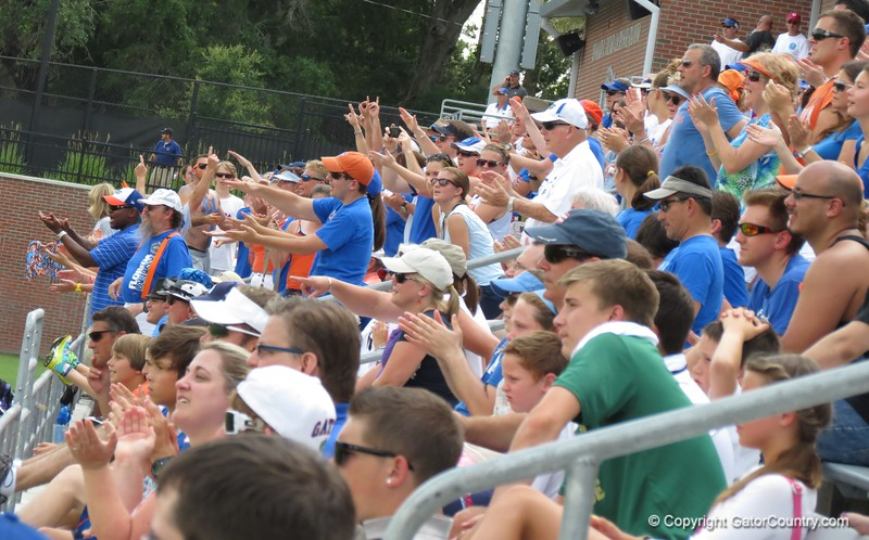 Fans cheer during the Florida Gators' 14-7 win against the Northwestern Wildcats in the ALC Championship on Saturday, May 5, 2012, at Donald R. Dizney Stadium in Gainesville, Fla. / Gator Country photo by MIke Capshaw
