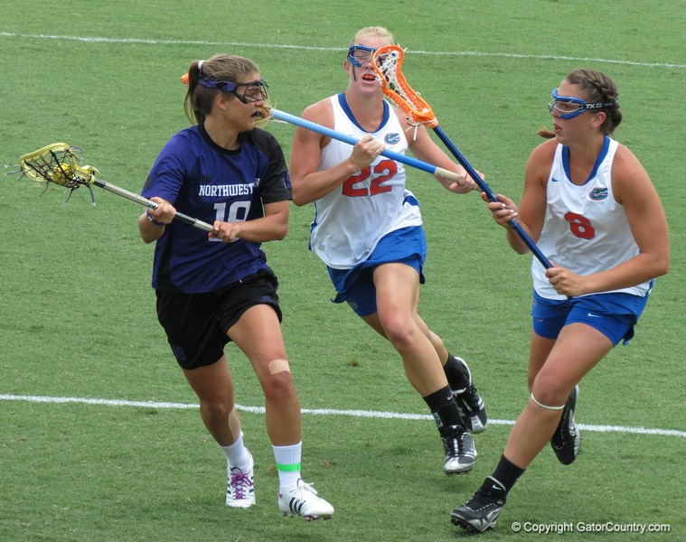 Shannon Gilroy (8) and Brittany Dashiell (22) on the attack during the Florida Gators' 14-7 win against the Northwestern Wildcats in the ALC Championship on Saturday, May 5, 2012, at Donald R. Dizney Stadium in Gainesville, Fla. / Gator Country photo by MIke Capshaw