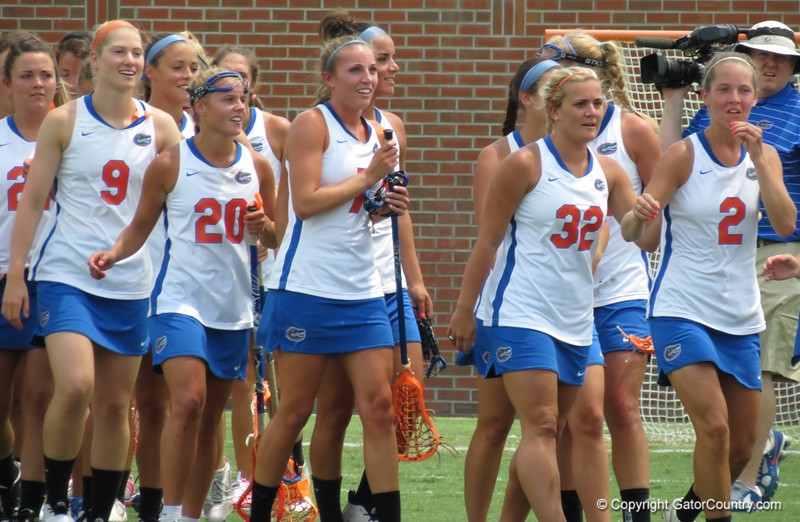 Players are all smiles after the Florida Gators defeated Northwestern 14-7 to win the ALC Championship on Saturday, May 5, 2012, at Donald R. Dizney Stadium in Gainesville, Fla. / Gator Country photo by MIke Capshaw