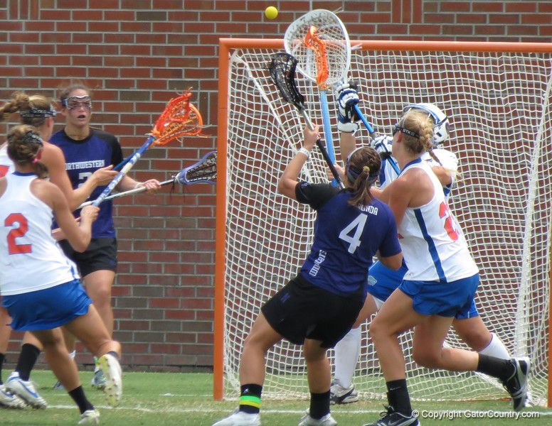 A shot on goal by Northwestern during the Florida Gators' 14-7 win against the Wildcats in the ALC Championship on Saturday, May 5, 2012, at Donald R. Dizney Stadium in Gainesville, Fla. / Gator Country photo by MIke Capshaw