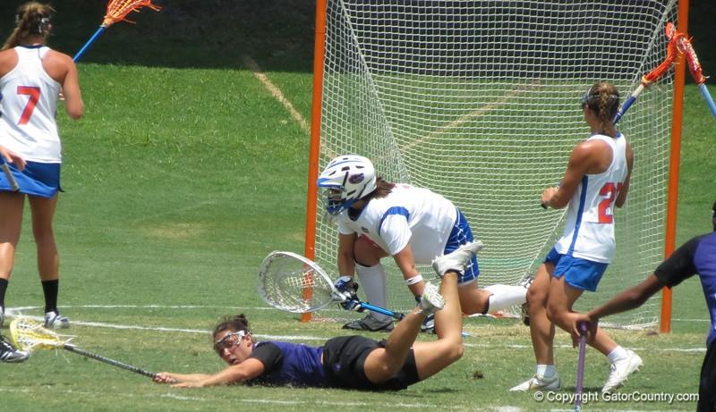 A Northwest player falls on the field during the Florida Gators' 14-7 win against the Northwestern Wildcats in the ALC Championship on Saturday, May 5, 2012, at Donald R. Dizney Stadium in Gainesville, Fla. / Gator Country photo by MIke Capshaw
