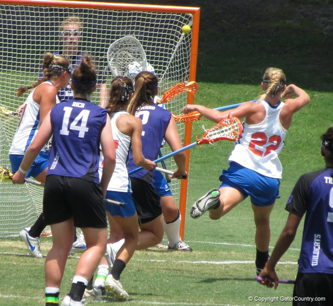 A shot on UF's goal during the Florida Gators' 14-7 win against the Northwestern Wildcats in the ALC Championship on Saturday, May 5, 2012, at Donald R. Dizney Stadium in Gainesville, Fla. / Gator Country photo by MIke Capshaw