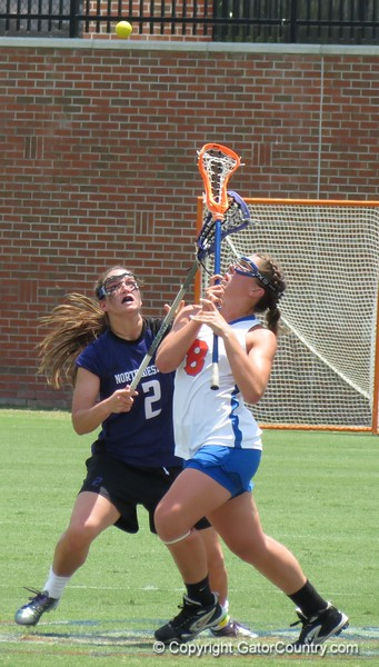 Shannon Gilroy battles for a draw control during the Florida Gators' 14-7 win against the Northwestern Wildcats in the ALC Championship on Saturday, May 5, 2012, at Donald R. Dizney Stadium in Gainesville, Fla. / Gator Country photo by MIke Capshaw