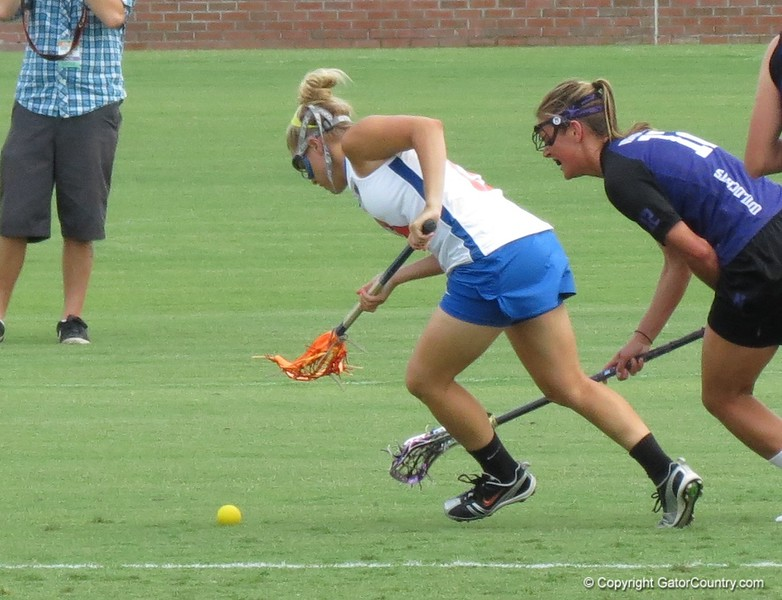 Ashley Bruns hustles after a ground ball during the Florida Gators' 14-7 win against the Northwestern Wildcats in the ALC Championship on Saturday, May 5, 2012, at Donald R. Dizney Stadium in Gainesville, Fla. / Gator Country photo by MIke Capshaw