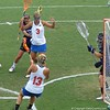 Ashley Bruns (13) and Caroline Chesterman (3) works for position in front of the goal during the Florida Gators' 14-7 win against the Northwestern Wildcats in the ALC Championship on Saturday, May 5, 2012, at Donald R. Dizney Stadium in Gainesville, Fla. / Gator Country photo by MIke Capshaw