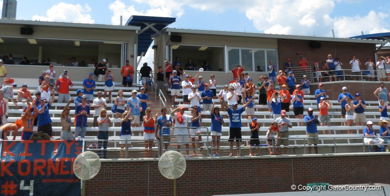 Fans cheer after the Florida Gators defeated Northwestern 14-7 to win the ALC Championship on Saturday, May 5, 2012, at Donald R. Dizney Stadium in Gainesville, Fla. / Gator Country photo by MIke Capshaw