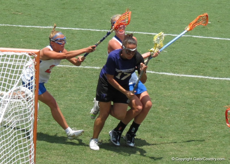 Players defending the goal during the Florida Gators' 14-7 win against the Northwestern Wildcats in the ALC Championship on Saturday, May 5, 2012, at Donald R. Dizney Stadium in Gainesville, Fla. / Gator Country photo by MIke Capshaw