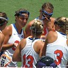 Players discuss strategy after an early goal during the Florida Gators' 14-7 win against the Northwestern Wildcats in the ALC Championship on Saturday, May 5, 2012, at Donald R. Dizney Stadium in Gainesville, Fla. / Gator Country photo by MIke Capshaw