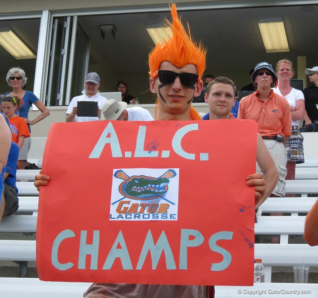 A fan clearly had prepared in advance with this sign after the Florida Gators defeated Northwestern 14-7 to win the ALC Championship on Saturday, May 5, 2012, at Donald R. Dizney Stadium in Gainesville, Fla. / Gator Country photo by MIke Capshaw