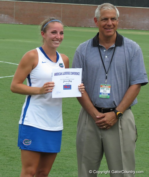 Jamie Reeg, a junior from Atlantis, Fla., was named All-ALC Tournament team after the Florida Gators defeated Northwestern 14-7 to win the ALC Championship on Saturday, May 5, 2012, at Donald R. Dizney Stadium in Gainesville, Fla. / Gator Country photo by MIke Capshaw